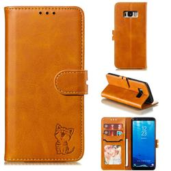 Embossing Happy Cat Leather Wallet Case for Samsung Galaxy S8 - Yellow