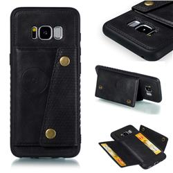 Retro Multifunction Card Slots Stand Leather Coated Phone Back Cover for Samsung Galaxy S8 - Black