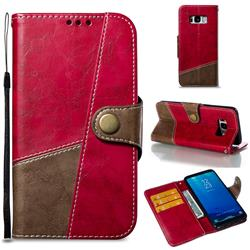 Retro Magnetic Stitching Wallet Flip Cover for Samsung Galaxy S8 - Rose Red