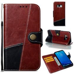 Retro Magnetic Stitching Wallet Flip Cover for Samsung Galaxy S8 - Dark Red