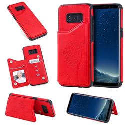 Luxury Tree and Cat Multifunction Magnetic Card Slots Stand Leather Phone Back Cover for Samsung Galaxy S8 - Red