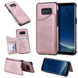 Luxury Tree and Cat Multifunction Magnetic Card Slots Stand Leather Phone Back Cover for Samsung Galaxy S8 - Rose Gold