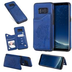 Luxury Tree and Cat Multifunction Magnetic Card Slots Stand Leather Phone Back Cover for Samsung Galaxy S8 - Blue