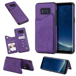 Luxury Tree and Cat Multifunction Magnetic Card Slots Stand Leather Phone Back Cover for Samsung Galaxy S8 - Purple