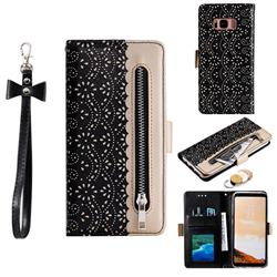 Luxury Lace Zipper Stitching Leather Phone Wallet Case for Samsung Galaxy S8 - Black