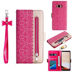 Luxury Lace Zipper Stitching Leather Phone Wallet Case for Samsung Galaxy S8 - Rose