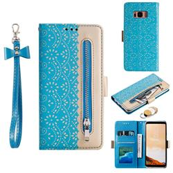 Luxury Lace Zipper Stitching Leather Phone Wallet Case for Samsung Galaxy S8 - Blue