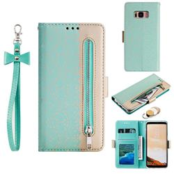 Luxury Lace Zipper Stitching Leather Phone Wallet Case for Samsung Galaxy S8 - Green