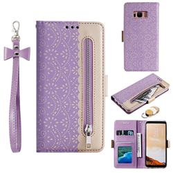 Luxury Lace Zipper Stitching Leather Phone Wallet Case for Samsung Galaxy S8 - Purple