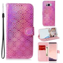 Laser Circle Shining Leather Wallet Phone Case for Samsung Galaxy S8 - Pink