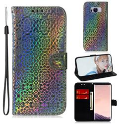 Laser Circle Shining Leather Wallet Phone Case for Samsung Galaxy S8 - Silver