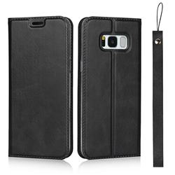 Calf Pattern Magnetic Automatic Suction Leather Wallet Case for Samsung Galaxy S8 - Black