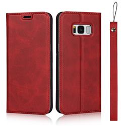 Calf Pattern Magnetic Automatic Suction Leather Wallet Case for Samsung Galaxy S8 - Red