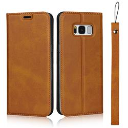 Calf Pattern Magnetic Automatic Suction Leather Wallet Case for Samsung Galaxy S8 - Brown
