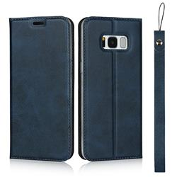 Calf Pattern Magnetic Automatic Suction Leather Wallet Case for Samsung Galaxy S8 - Blue
