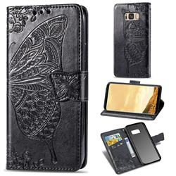 Embossing Mandala Flower Butterfly Leather Wallet Case for Samsung Galaxy S8 - Black