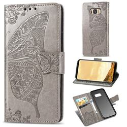 Embossing Mandala Flower Butterfly Leather Wallet Case for Samsung Galaxy S8 - Gray