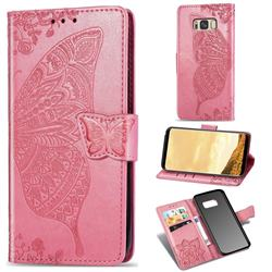 Embossing Mandala Flower Butterfly Leather Wallet Case for Samsung Galaxy S8 - Pink
