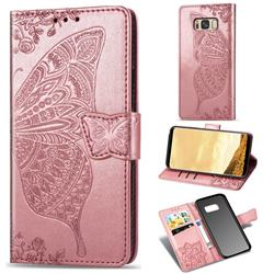 Embossing Mandala Flower Butterfly Leather Wallet Case for Samsung Galaxy S8 - Rose Gold