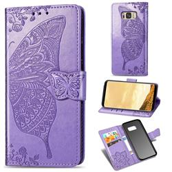 Embossing Mandala Flower Butterfly Leather Wallet Case for Samsung Galaxy S8 - Light Purple