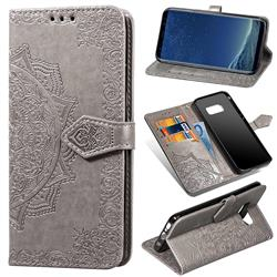 Embossing Imprint Mandala Flower Leather Wallet Case for Samsung Galaxy S8 - Gray
