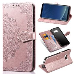 Embossing Imprint Mandala Flower Leather Wallet Case for Samsung Galaxy S8 - Rose Gold