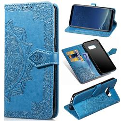 Embossing Imprint Mandala Flower Leather Wallet Case for Samsung Galaxy S8 - Blue