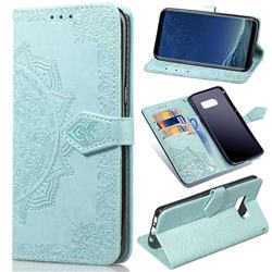 Embossing Imprint Mandala Flower Leather Wallet Case for Samsung Galaxy S8 - Green