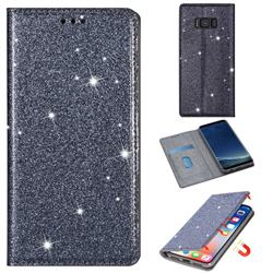 Ultra Slim Glitter Powder Magnetic Automatic Suction Leather Wallet Case for Samsung Galaxy S8 - Gray
