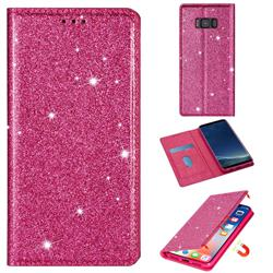 Ultra Slim Glitter Powder Magnetic Automatic Suction Leather Wallet Case for Samsung Galaxy S8 - Rose Red