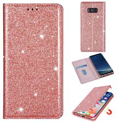 Ultra Slim Glitter Powder Magnetic Automatic Suction Leather Wallet Case for Samsung Galaxy S8 - Rose Gold