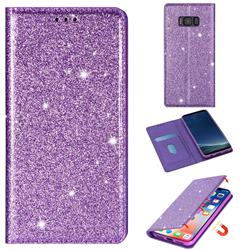 Ultra Slim Glitter Powder Magnetic Automatic Suction Leather Wallet Case for Samsung Galaxy S8 - Purple