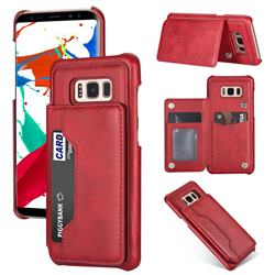 Luxury Magnetic Double Buckle Leather Phone Case for Samsung Galaxy S8 - Red