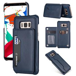 Luxury Magnetic Double Buckle Leather Phone Case for Samsung Galaxy S8 - Blue