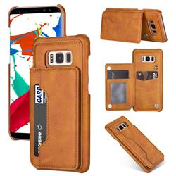 Luxury Magnetic Double Buckle Leather Phone Case for Samsung Galaxy S8 - Brown