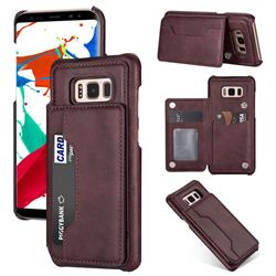 Luxury Magnetic Double Buckle Leather Phone Case for Samsung Galaxy S8 - Purple