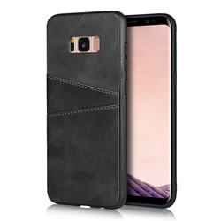 Simple Calf Card Slots Mobile Phone Back Cover for Samsung Galaxy S8 - Black