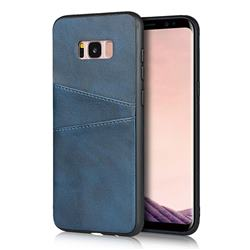Simple Calf Card Slots Mobile Phone Back Cover for Samsung Galaxy S8 - Blue