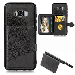 Mandala Flower Cloth Multifunction Stand Card Leather Phone Case for Samsung Galaxy S8 - Black
