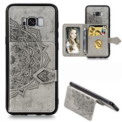 Mandala Flower Cloth Multifunction Stand Card Leather Phone Case for Samsung Galaxy S8 - Gray