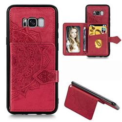 Mandala Flower Cloth Multifunction Stand Card Leather Phone Case for Samsung Galaxy S8 - Red