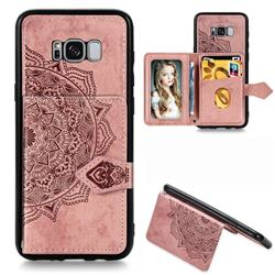 Mandala Flower Cloth Multifunction Stand Card Leather Phone Case for Samsung Galaxy S8 - Rose Gold