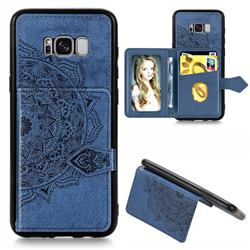 Mandala Flower Cloth Multifunction Stand Card Leather Phone Case for Samsung Galaxy S8 - Blue