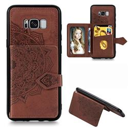 Mandala Flower Cloth Multifunction Stand Card Leather Phone Case for Samsung Galaxy S8 - Brown