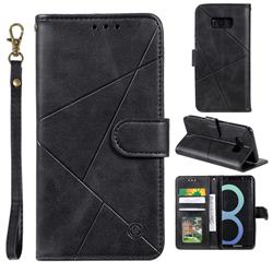 Embossing Geometric Leather Wallet Case for Samsung Galaxy S8 - Black