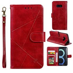 Embossing Geometric Leather Wallet Case for Samsung Galaxy S8 - Red