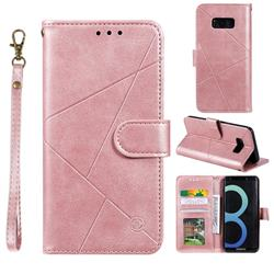 Embossing Geometric Leather Wallet Case for Samsung Galaxy S8 - Rose Gold