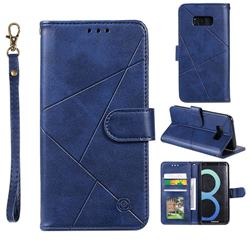 Embossing Geometric Leather Wallet Case for Samsung Galaxy S8 - Blue