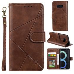 Embossing Geometric Leather Wallet Case for Samsung Galaxy S8 - Brown
