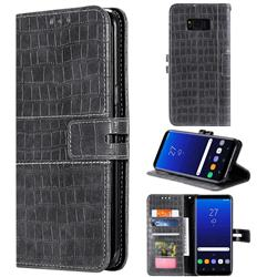 Luxury Crocodile Magnetic Leather Wallet Phone Case for Samsung Galaxy S8 - Gray